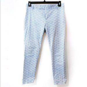 GAP Blue White Geometric Print Slim Cropped Pants